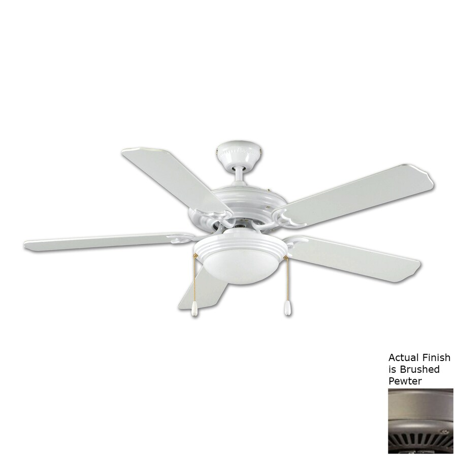 Royal Pacific Royal Star 52-in Brushed Pewter Flush Mount Ceiling Fan with Light Kit (5-Blade) ENERGY STAR