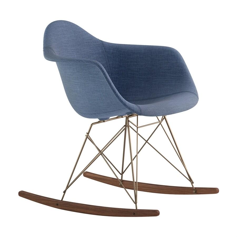 NyeKoncept Midcentury Dodger Blue/Walnut/Brushed Brass Polyester Rocking Chair