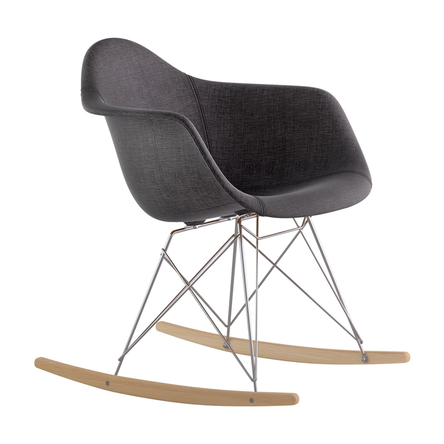 NyeKoncept Midcentury Charcoal/Natural Wood/Brushed Nickel Polyester Rocking Chair