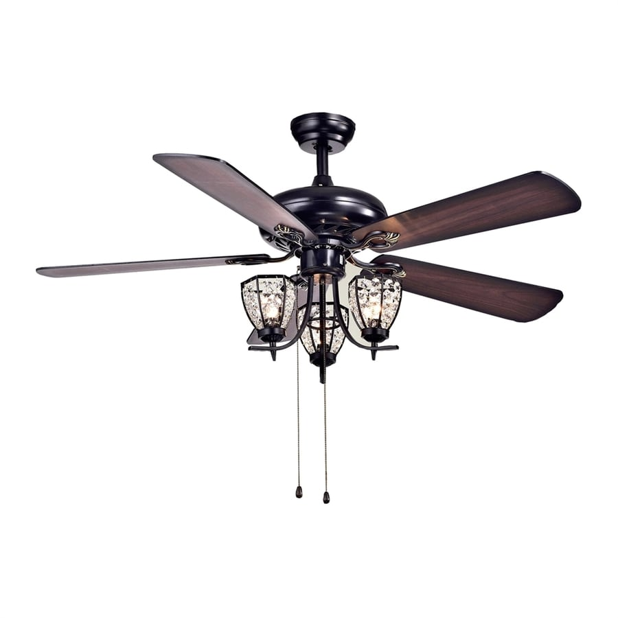 Warehouse Of Tiffany Mirabelle 52 In Black Downrod Mount Ceiling Fan With  Light Kit (