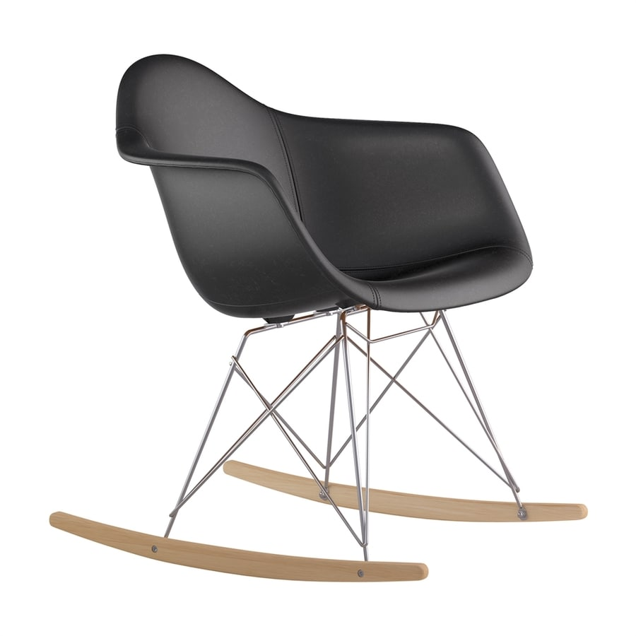 NyeKoncept Midcentury Milano Black/Natural Wood/Brushed Nickel Genuine Leather Rocking Chair