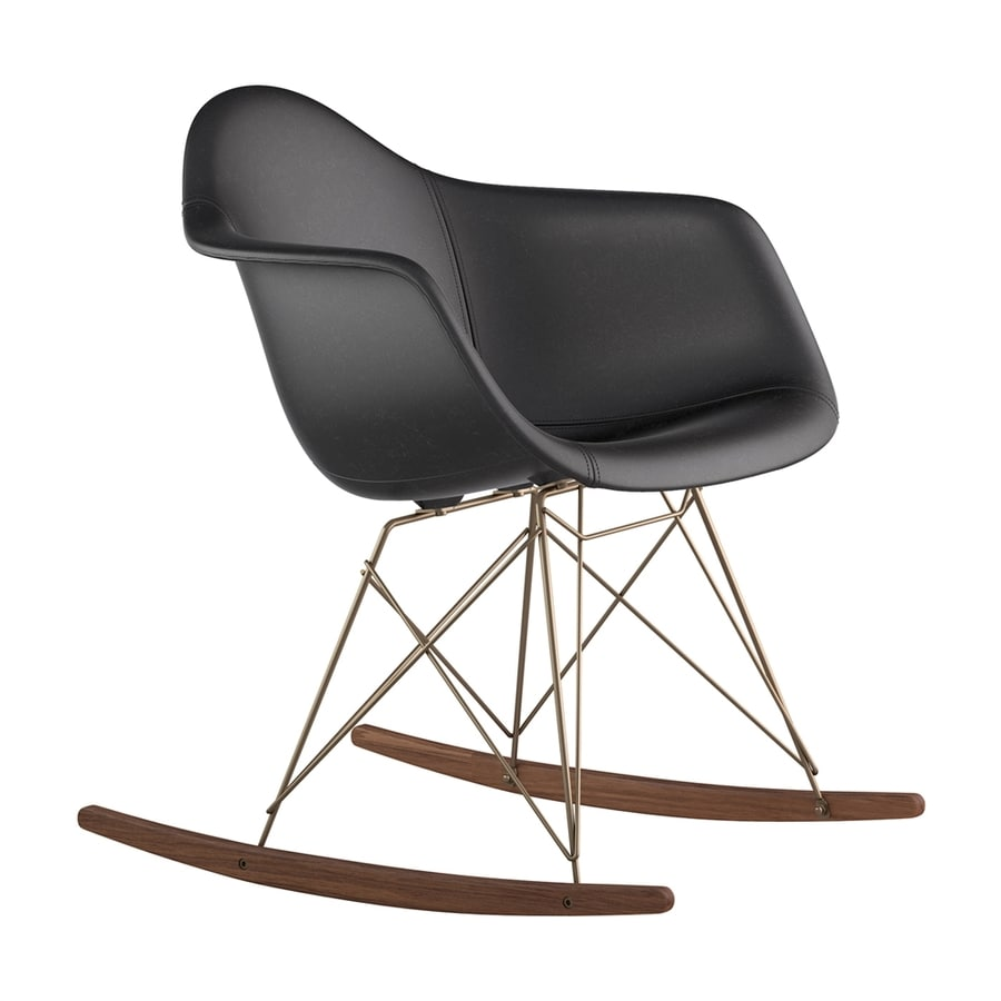 NyeKoncept Midcentury Milano Black/Walnut/Brushed Brass Genuine Leather Rocking Chair