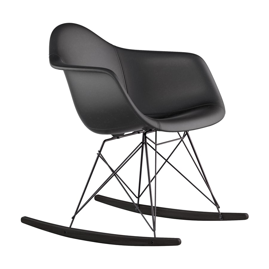 NyeKoncept Midcentury Milano Black/Brushed Gunmetal Genuine Leather Rocking Chair