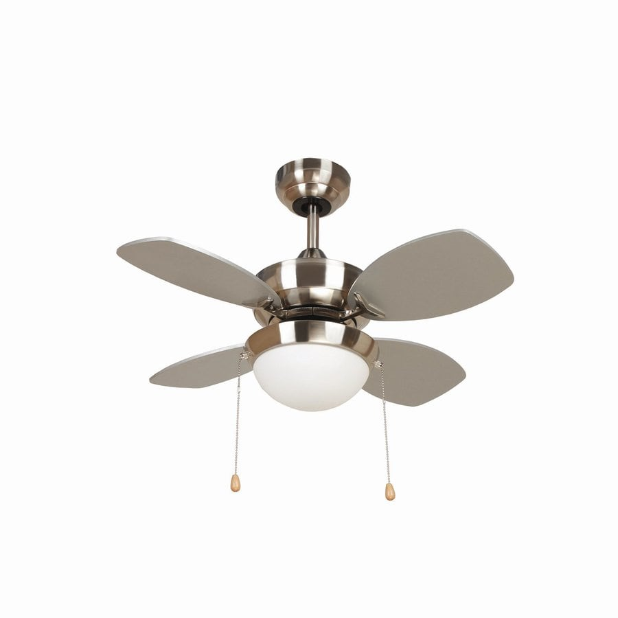 Yosemite Home Decor 28-in Bright Brush Nickel Downrod Mount Ceiling Fan with Light Kit (4-Blade)