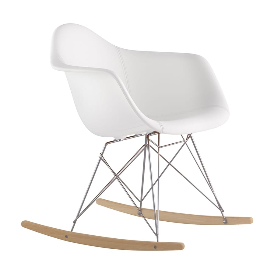 affc704d918 NyeKoncept Midcentury Milano White Natural Wood Brushed Nickel Genuine  Leather Rocking Chair