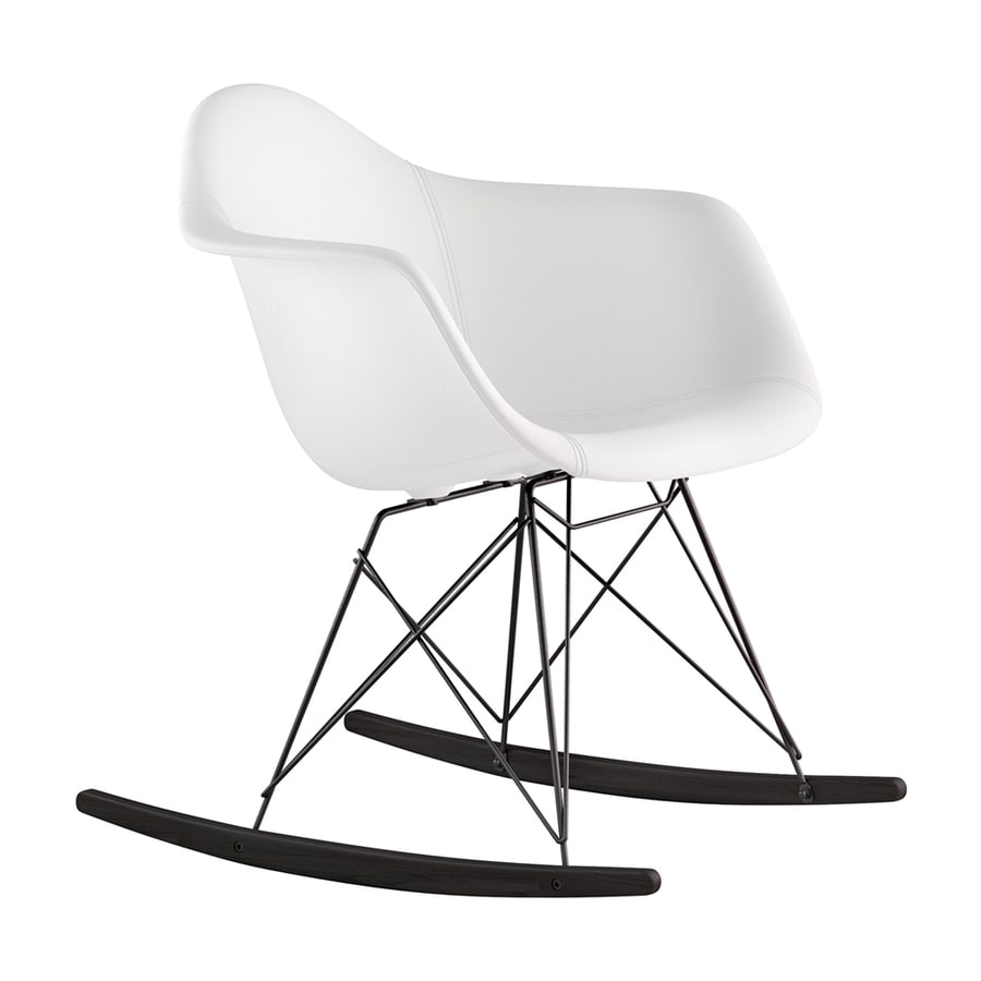 NyeKoncept Midcentury Milano White/Black/Brushed Gunmetal Genuine Leather Rocking Chair