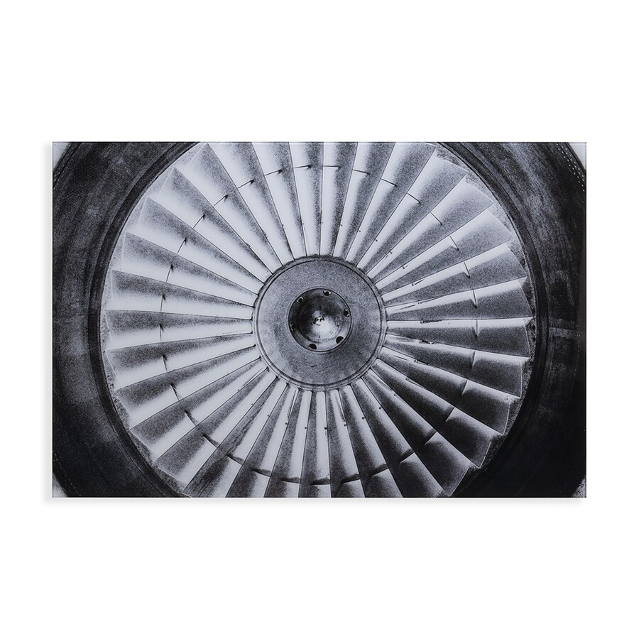 Boston Loft Furnishings 47-in W x 32-in H Frameless Glass Jet Engine Print Wall Art