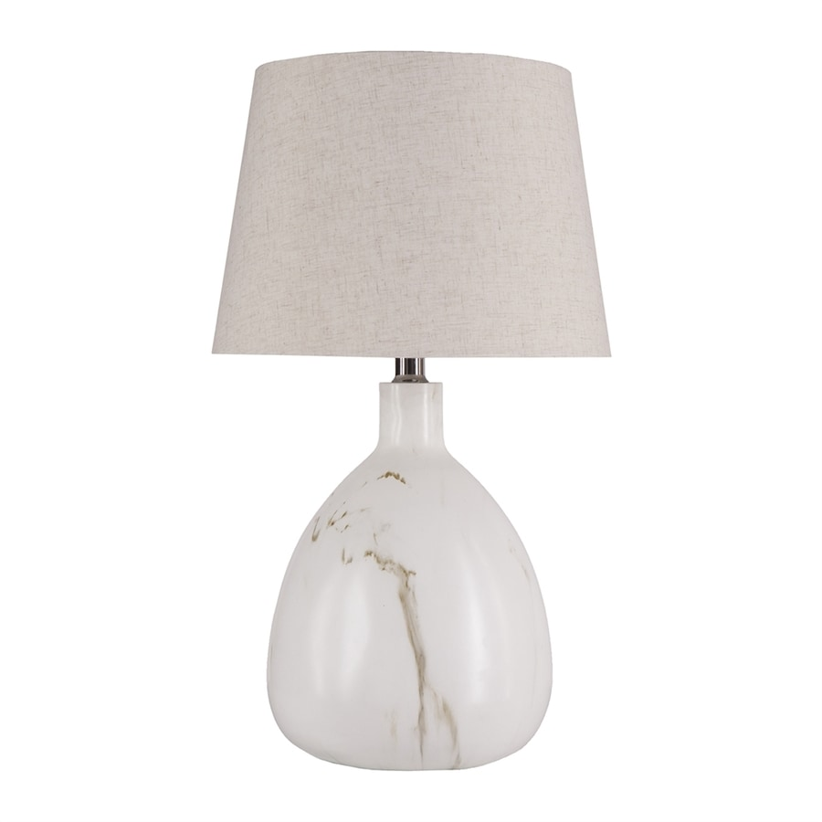 Boston Loft Furnishings Natalii 25-in Veined Simulated White Marble In-Line Table Lamp with Fabric Shade
