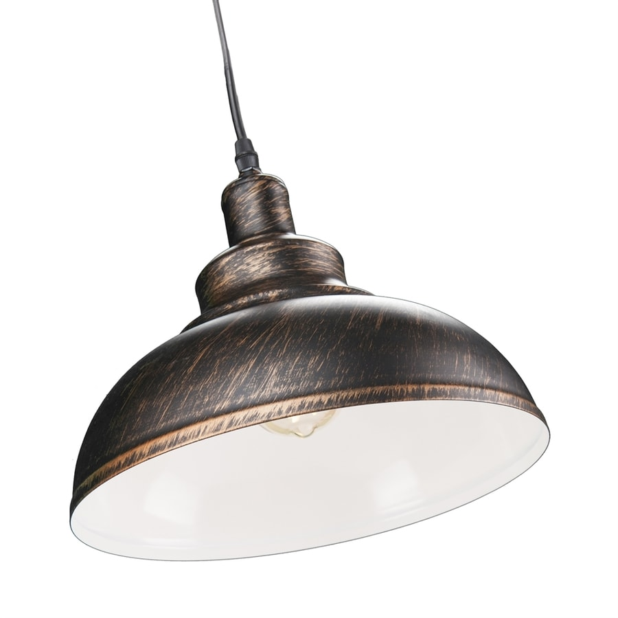 Boston Loft Furnishings Manchester 11.25-in Rustic Black/Brushed Copper Barn Hardwired Single Warehouse Pendant