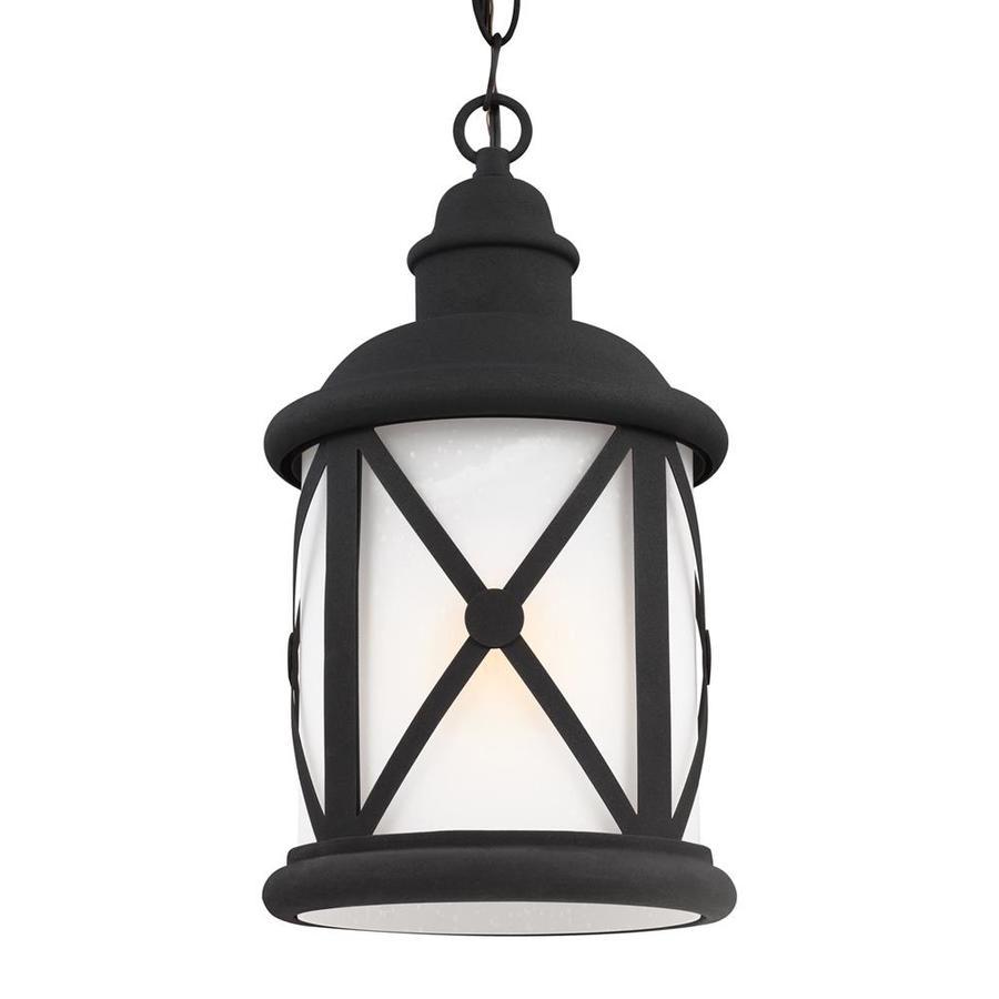 Sea Gull Lighting Lakeview 15.25-in Black Outdoor Pendant Light ENERGY STAR