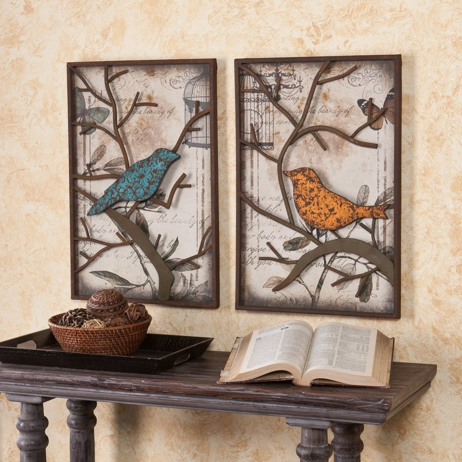 Boston Loft Furnishings 2-Piece 16-in W x 24-in H Framed Metal Sparrows 3D Art Wall Art