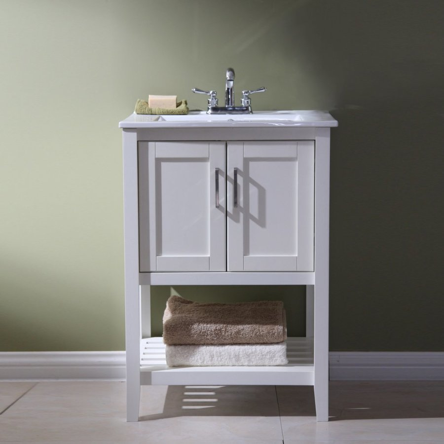 Legion Furniture White Integral Single Sink Bathroom Vanity With Ceramic  Top (Common: 23