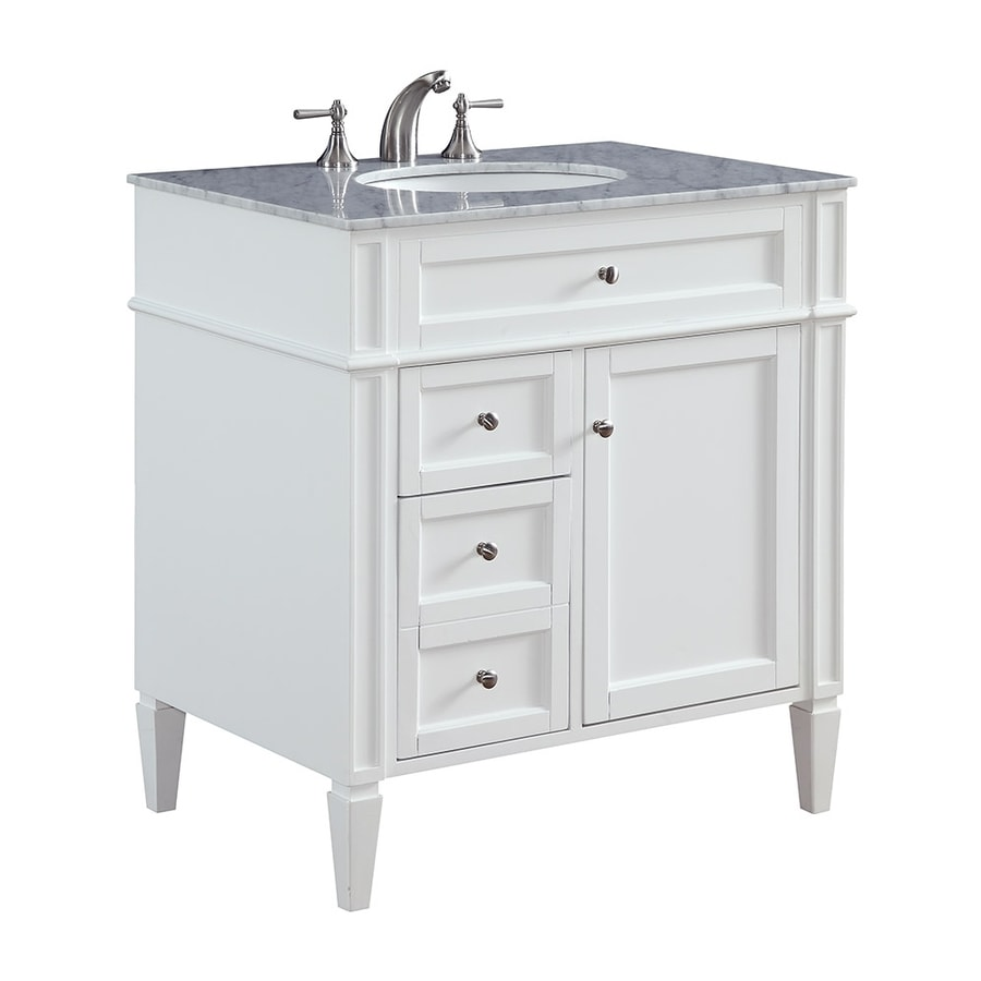 Elegant Lighting Park Ave White Undermount Single Sink Bathroom Vanity with Natural Marble Top (Actual: 32-in x 12-in)