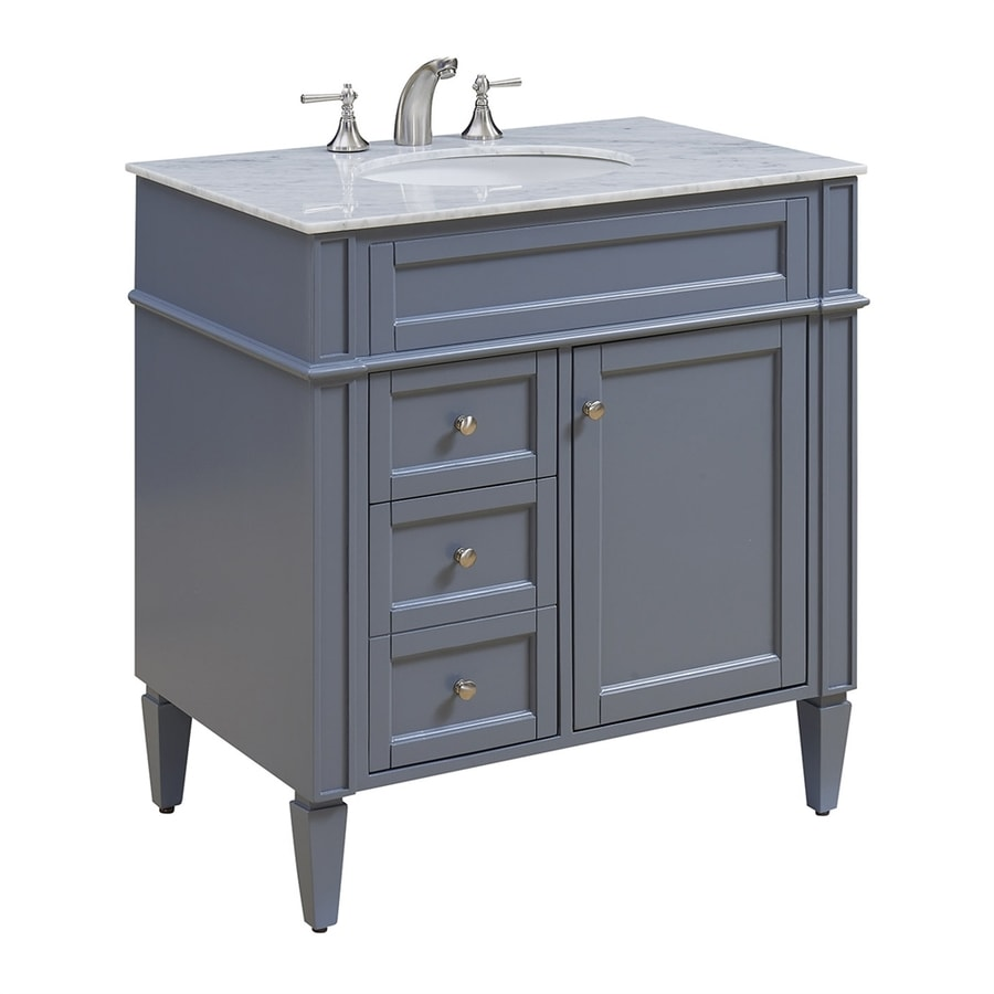 Elegant Lighting Park Ave Grey Undermount Single Sink Bathroom Vanity With Natural Marble Top Common