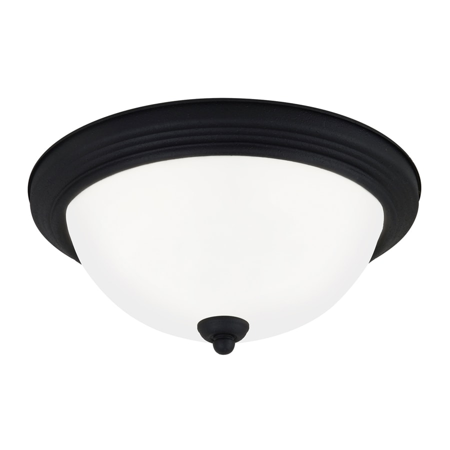 Sea Gull Lighting White Glass Flush Mount Fluorescent Light ENERGY STAR