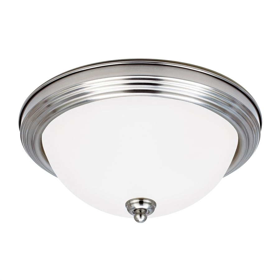 Sea Gull Lighting Sussex White Glass Flush Mount Fluorescent Light ENERGY STAR