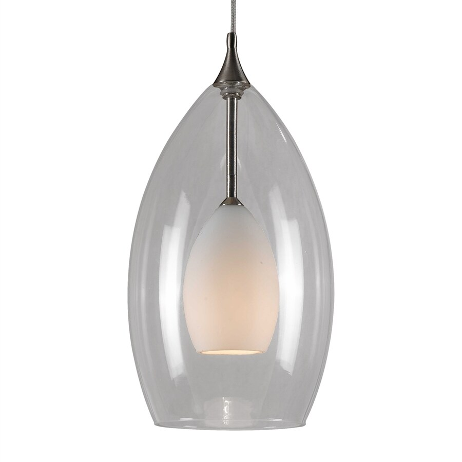Cal Lighting 3.8-in Brushed Steel Mini Clear Glass Teardrop Pendant