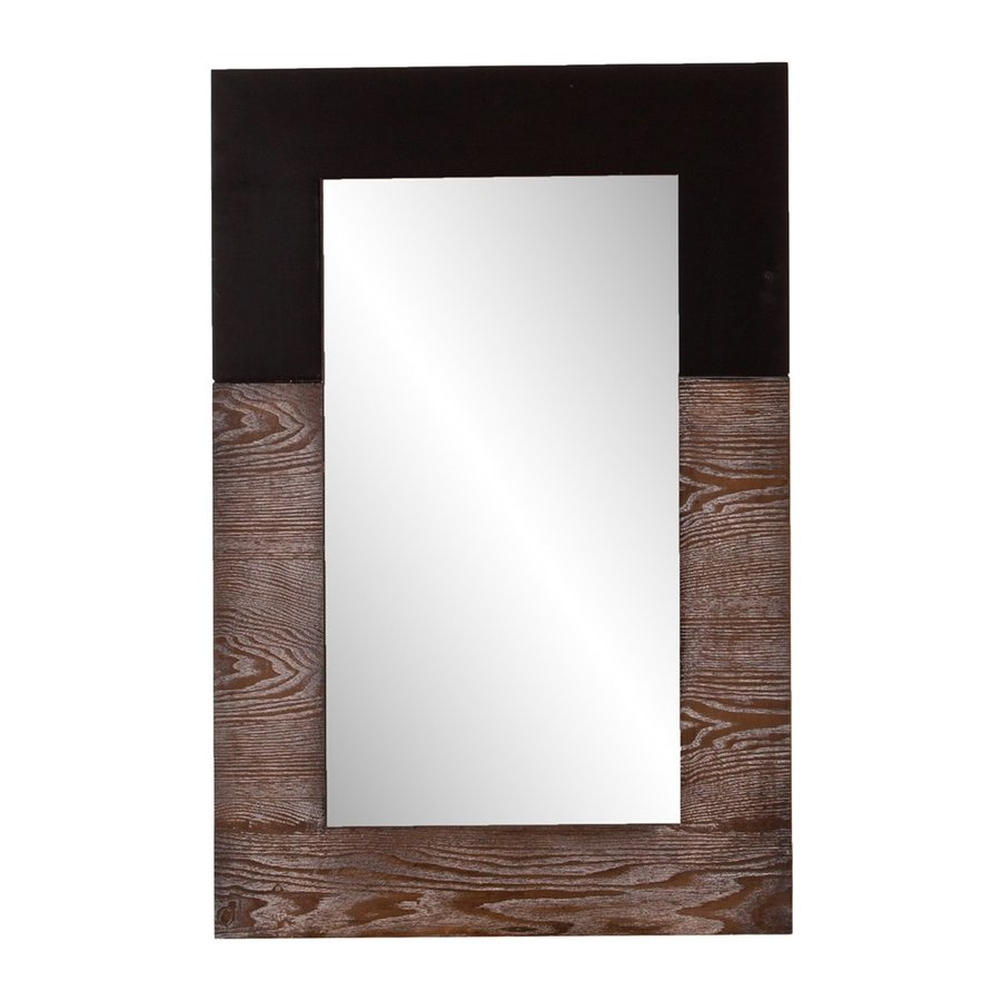 Holly & Martin Wagars 24-in x 36-in Burnt Oak/Black Rectangle Framed Wall Mirror