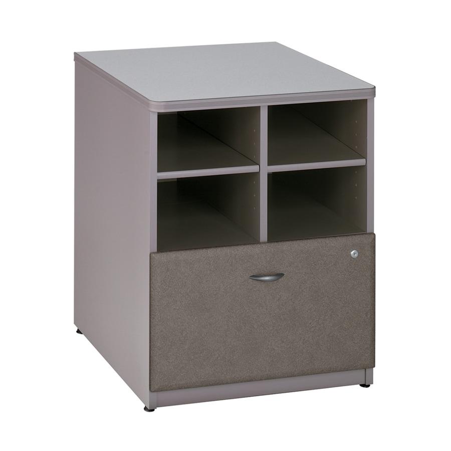 Bush Business Furniture Series A White Spectrum/Pewter Piler Filer Cabinet