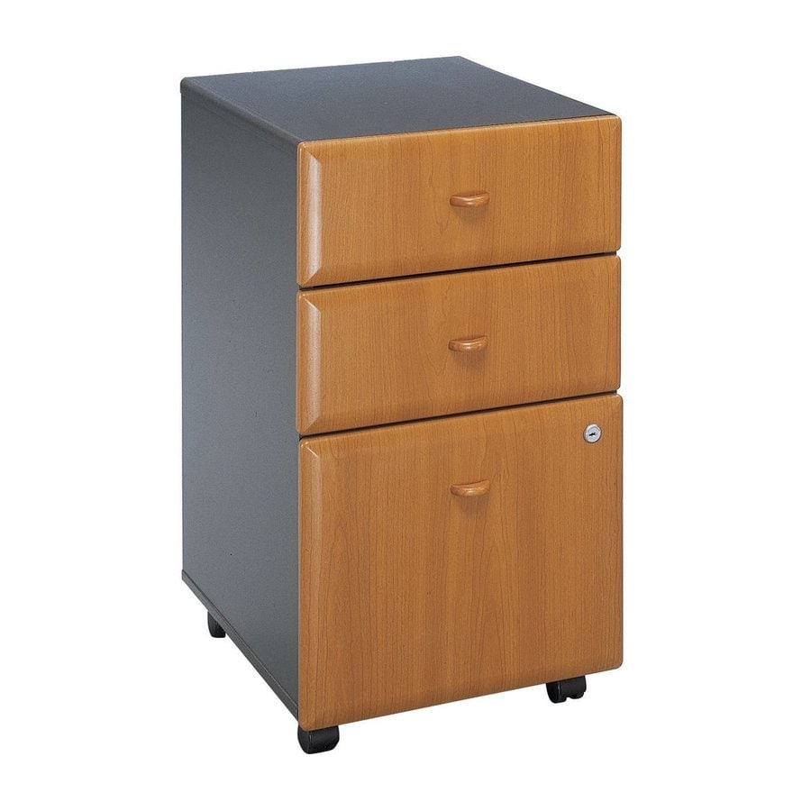 Bush Business Furniture Series A Natural Cherry/Slate 3-Drawer Mobile File Cabinet
