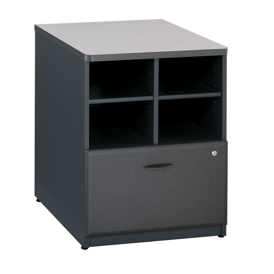 Bush Business Furniture Series A White Spectrum/Slate Piler Filer Cabinet