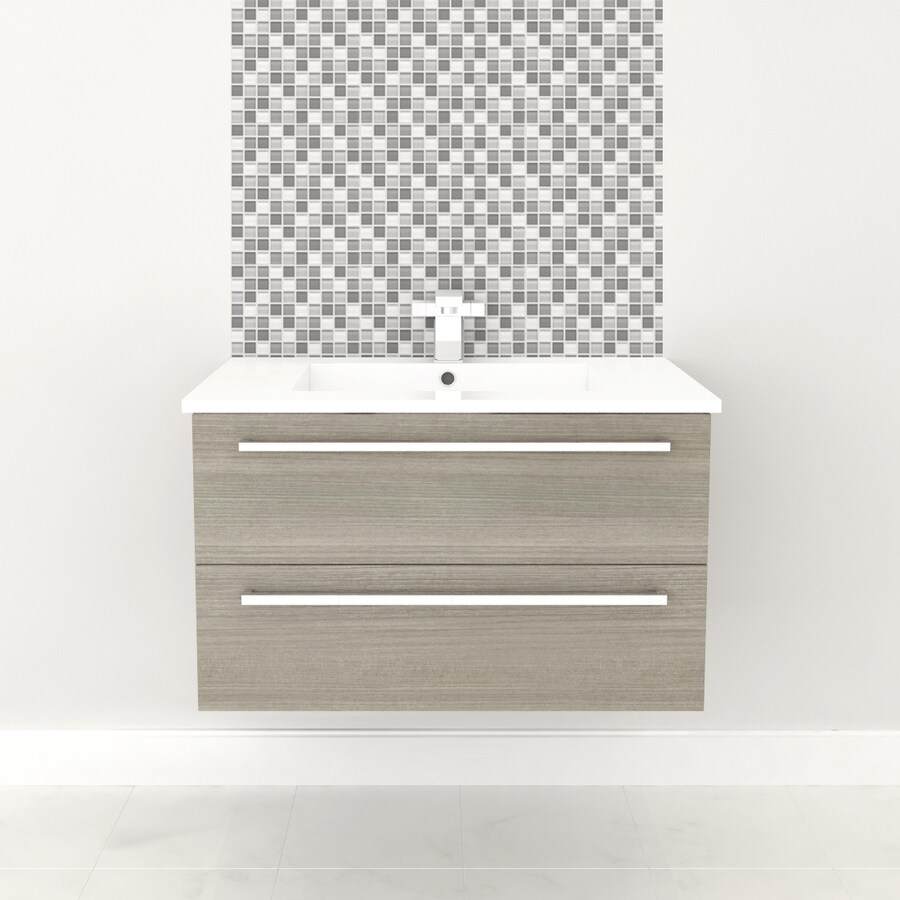 Cutler Kitchen & Bath Silhouette Aria Drop-in Single Sink Bathroom Vanity with Cultured Marble Top (Common: 28-in x 17-in; Actual: 28.56-in x 17.87-in)