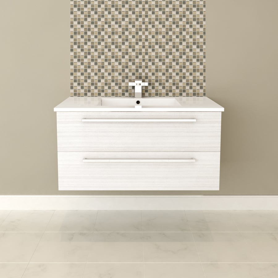Cutler Kitchen & Bath Silhouette White Chocolate Integral Single Sink Bathroom Vanity with Cultured Marble Top (Common: 34-in x 17-in; Actual: 34.43-in x 17.87-in)