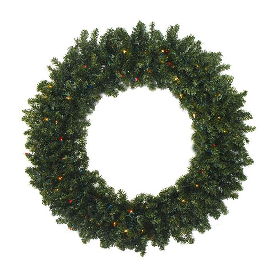 Northlight 48-in Pre-lit Indoor/Outdoor Natural 2-tone Green Canadian Pine Artificial Christmas Wreath with Multicolor Lights