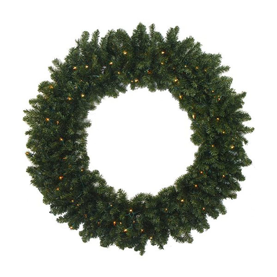 Northlight 60-in Pre-lit Indoor/Outdoor Electrical Outlet 2-tone Medium Green Canadian Pine Artificial Christmas Wreath with Clear White Lights