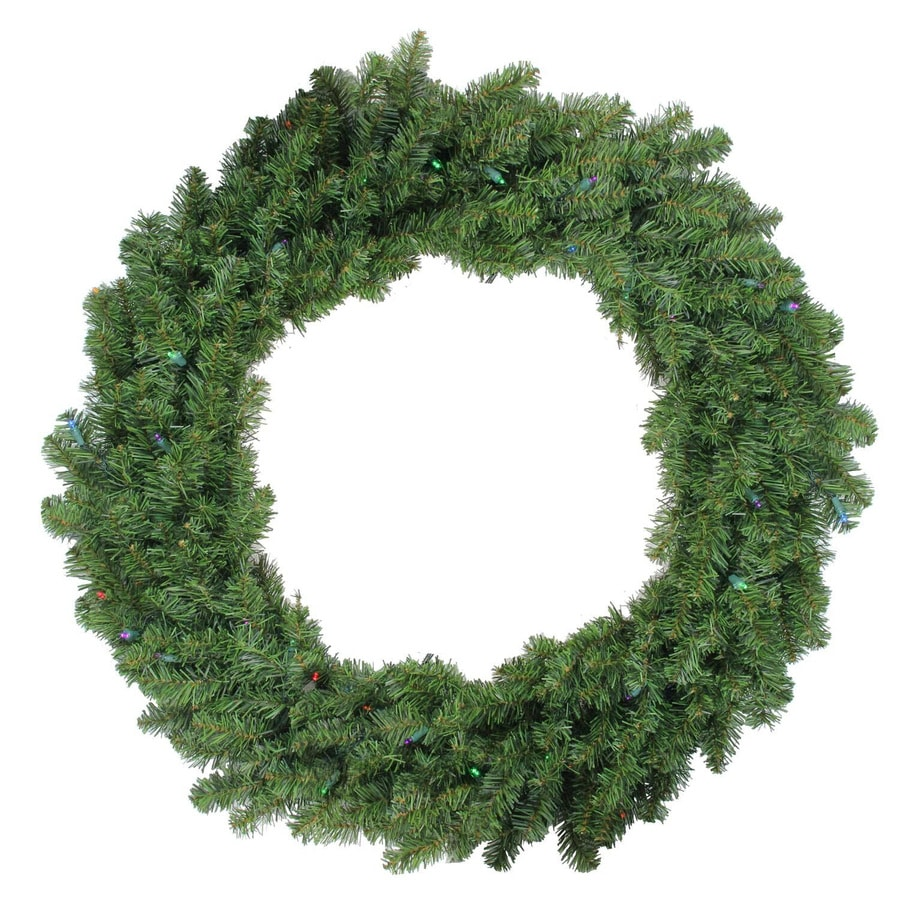 Northlight 36-in Pre-lit Indoor Battery-operated 2-tone Medium Green Canadian Pine Artificial Christmas Wreath with Multicolor LED Lights