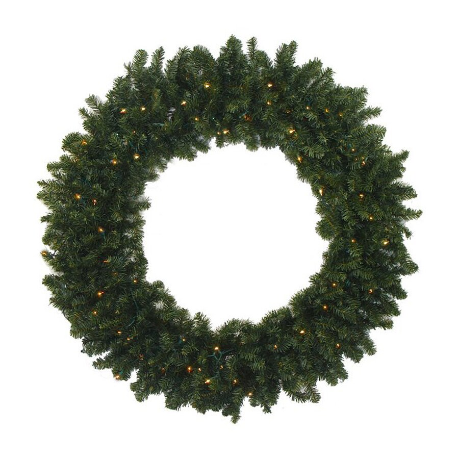 Northlight 30-in Pre-lit Indoor 2-tone Medium Green Canadian Pine Artificial Christmas Wreath with Warm White LED Lights