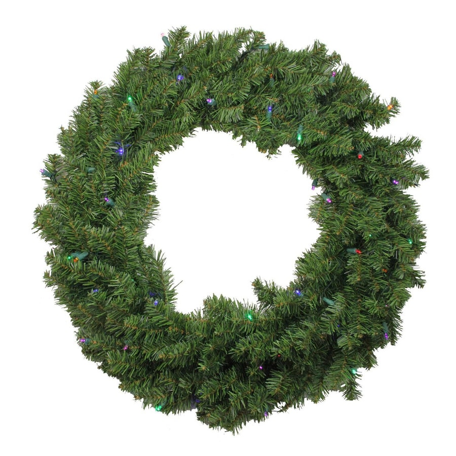 northlight 24 in pre lit indoor battery operated canadian pine artificial christmas wreath