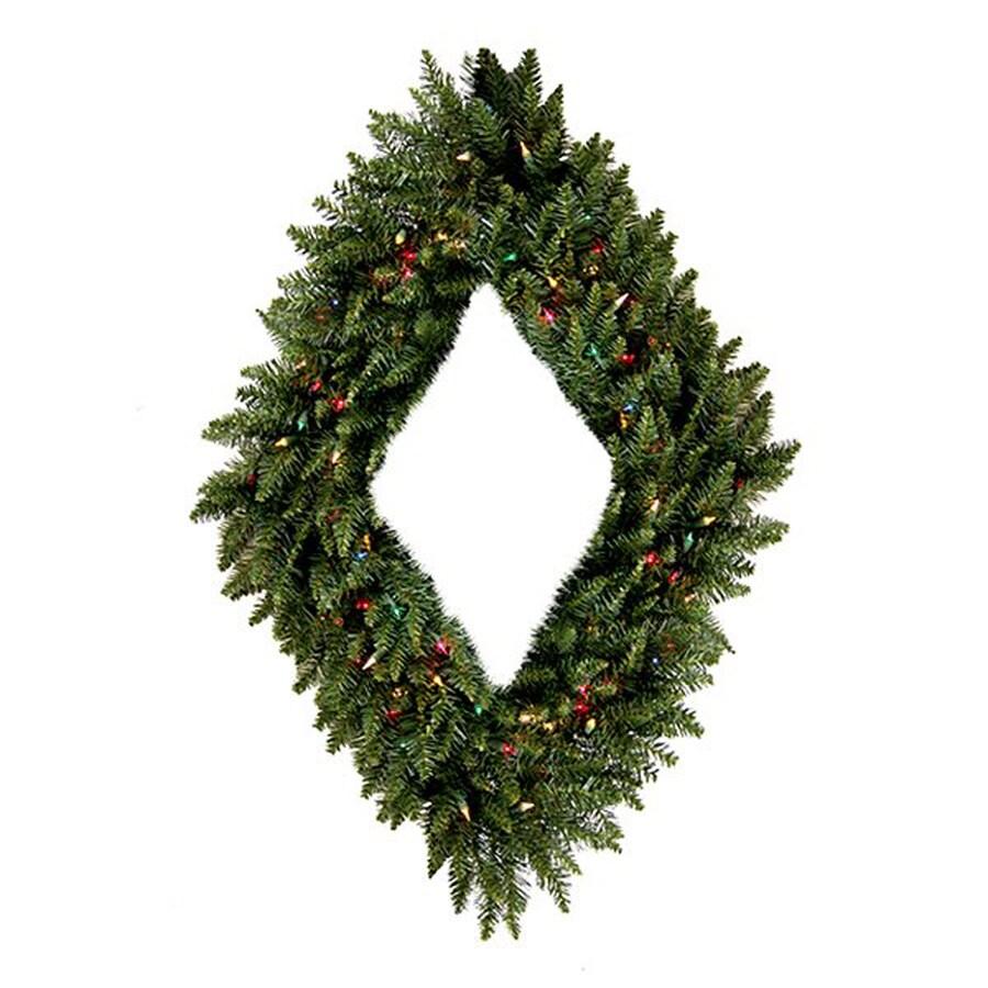 Northlight 30-in Diamond Pre-lit Indoor 2-tone Green Camden Fir Artificial Christmas Wreath with Multicolor Lights