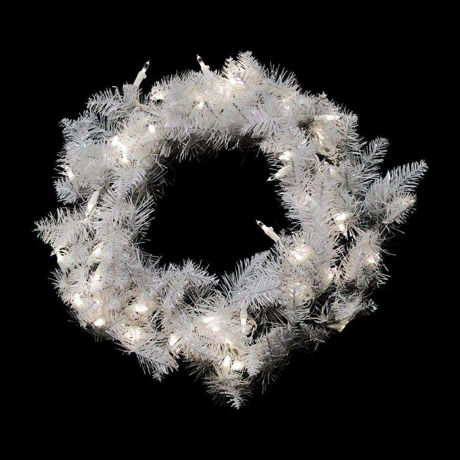 Northlight 24-in Pre-lit Indoor Sparkle White Spruce Artificial Christmas Wreath with Pure White LED Lights