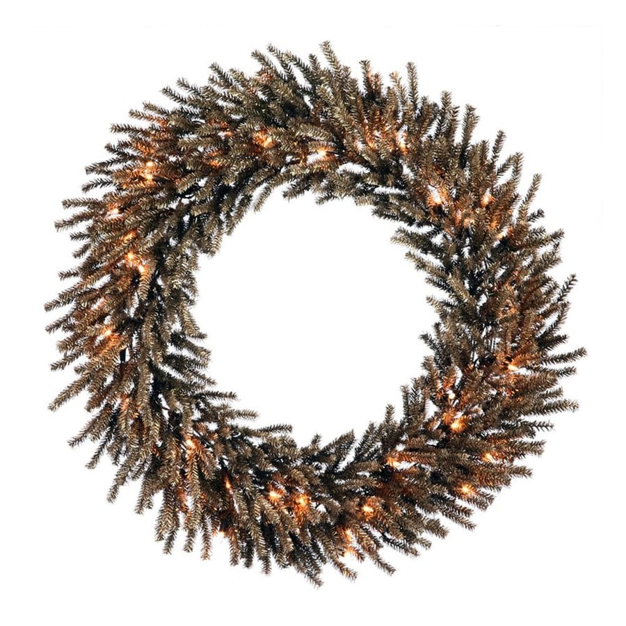Northlight 24-in Pre-lit Indoor Chocolate Brown Tinsel Artificial Christmas Wreath with Clear White Lights