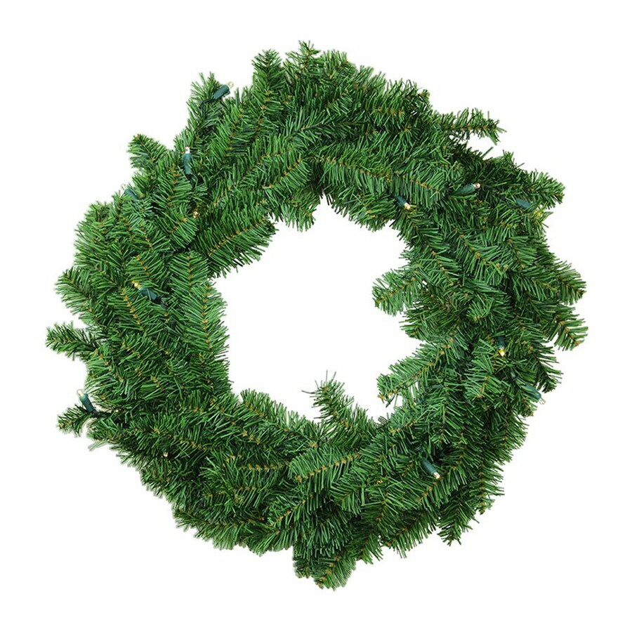 northlight 30 in pre lit indoor battery operated canadian pine artificial christmas wreath - Battery Powered Christmas Decorations