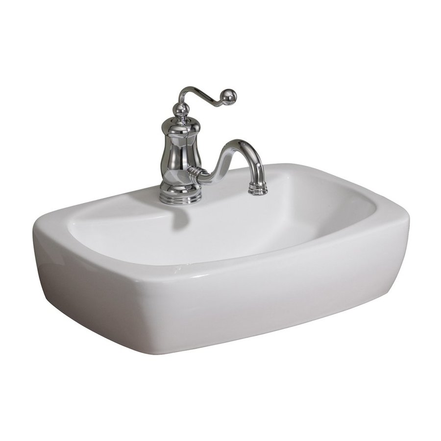 Shop Cheviot Thema White Vitreous China Rectangular Vessel Bathroom Sink At