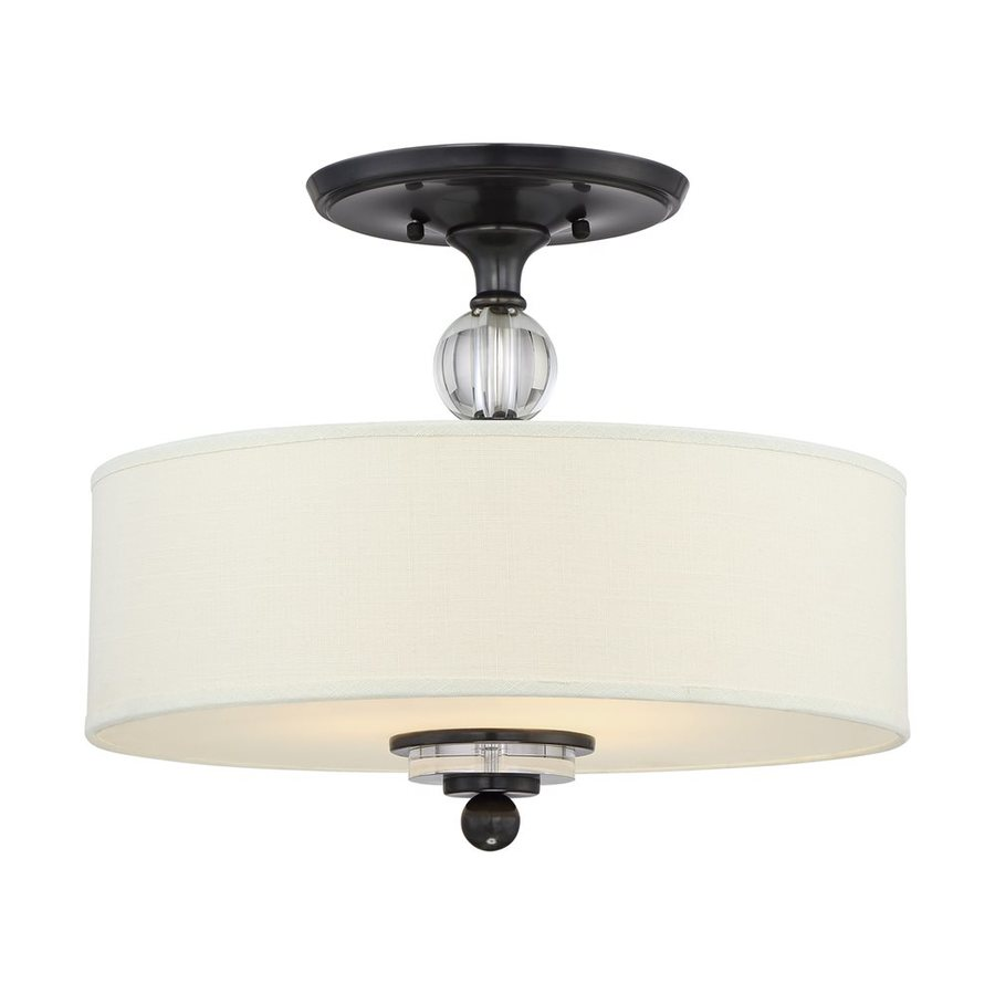 Quoizel Downtown 16.5-in W Cream linen Fabric Semi-Flush Mount Light