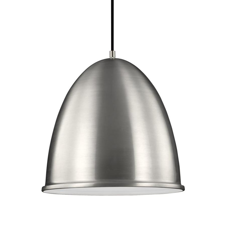 Sea Gull Lighting Hudson Street 15.75-in Satin Aluminum Industrial Single Dome Pendant