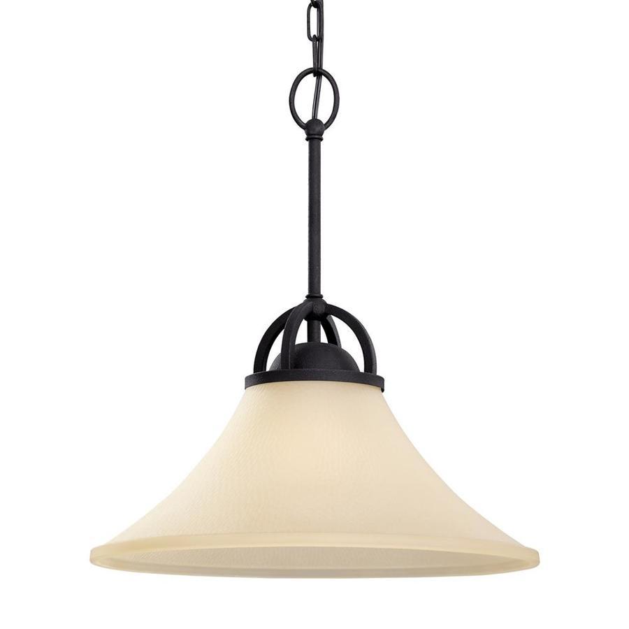 Sea Gull Lighting Somerton 16-in Blacksmith Single Tinted Glass Bell Pendant