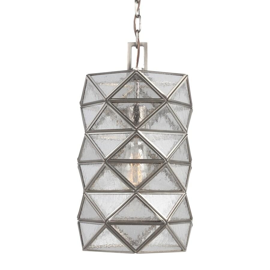 Sea Gull Lighting Harambee 8-in Antique Brushed Nickel Single Seeded Glass Geometric Pendant
