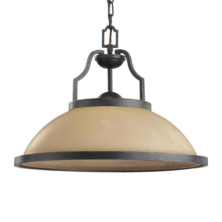 Sea Gull Lighting Roslyn 18.5-in Flemish Bronze Mediterranean Single Textured Glass Warehouse Pendant