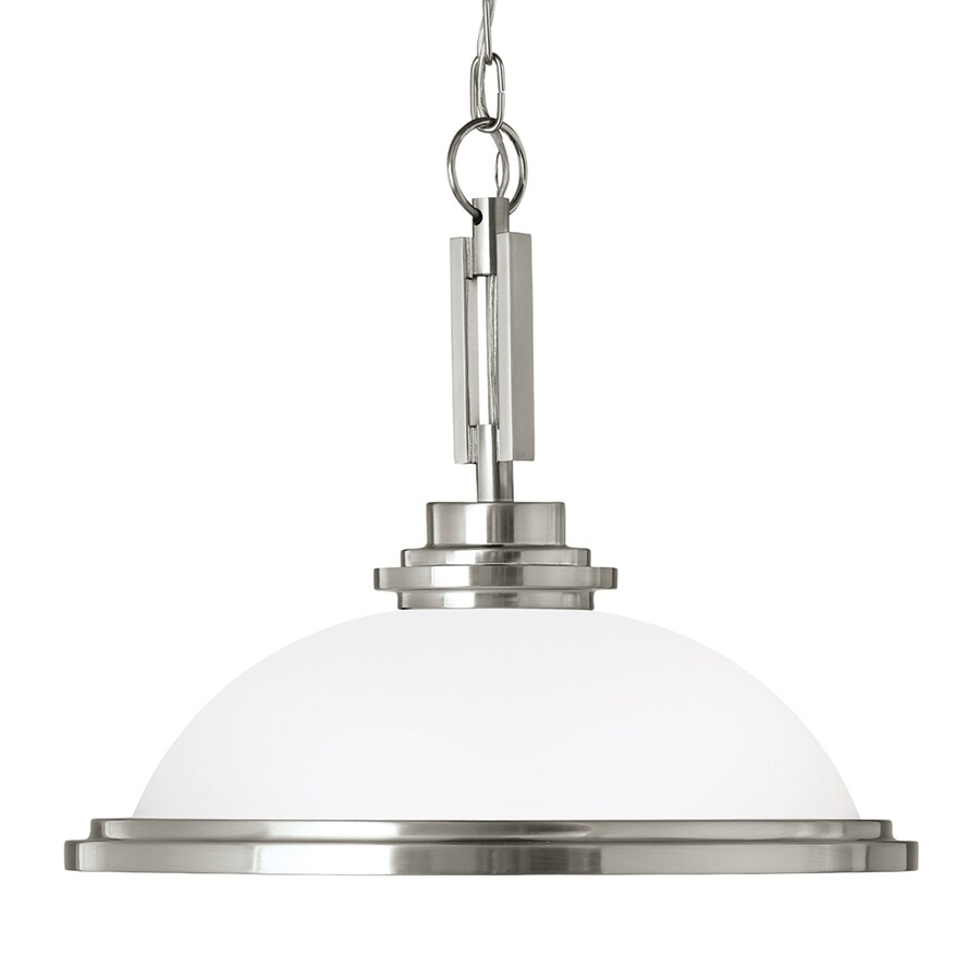 Sea Gull Lighting Winnetka 16.75-in Brushed Nickel Single Etched Glass Dome Pendant