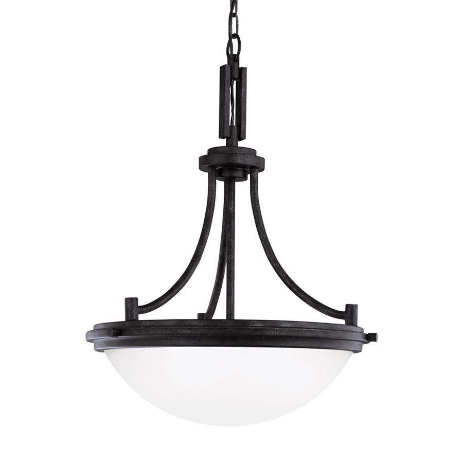Sea Gull Lighting Winnetka 18-in Blacksmith Single Etched Glass Bowl Pendant