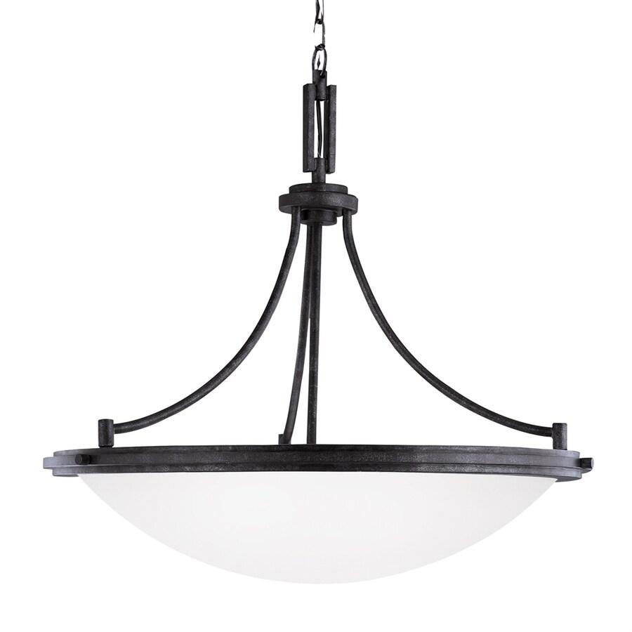 Sea Gull Lighting Winnetka 28.25-in Blacksmith Single Etched Glass Bowl Pendant