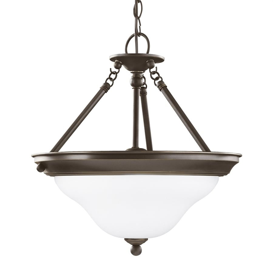 Sea Gull Lighting Sussex 15.25-in Heirloom Bronze Single Etched Glass Bowl Pendant