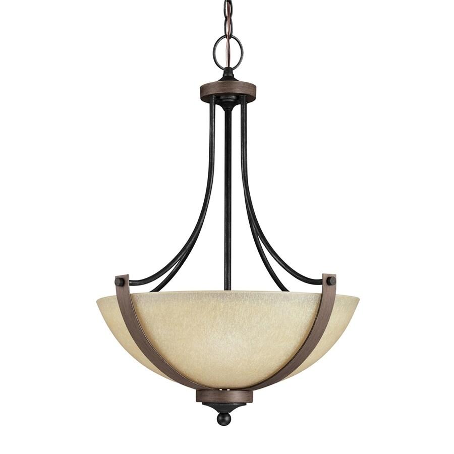 Sea Gull Lighting Corbeille 19-in Stardust/Cerused Oak Mediterranean Single Textured Glass Bowl Pendant