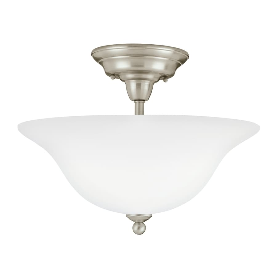 Sea Gull Lighting Sussex 15.75-in W Brushed Nickel White Semi-Flush Mount Light ENERGY STAR