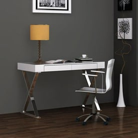 Whiteline Imports Contemporary White Writing Desk