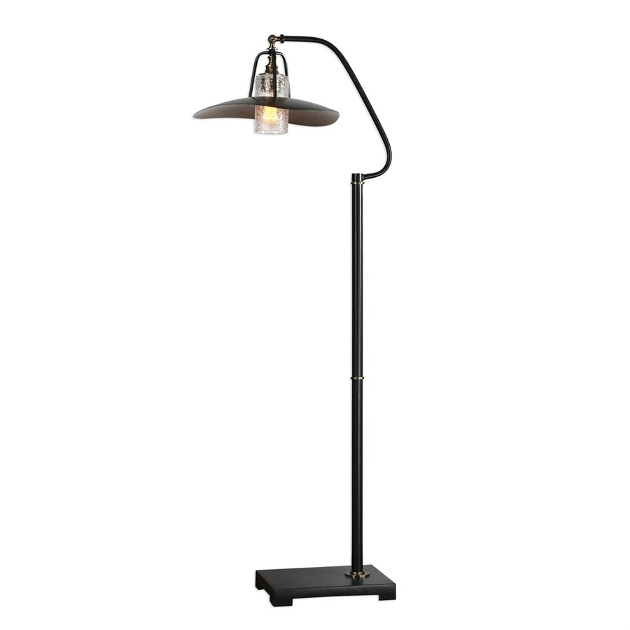 global direct arkutino 61 in aged black iron foot switch arc floor lamp with glass shade at. Black Bedroom Furniture Sets. Home Design Ideas